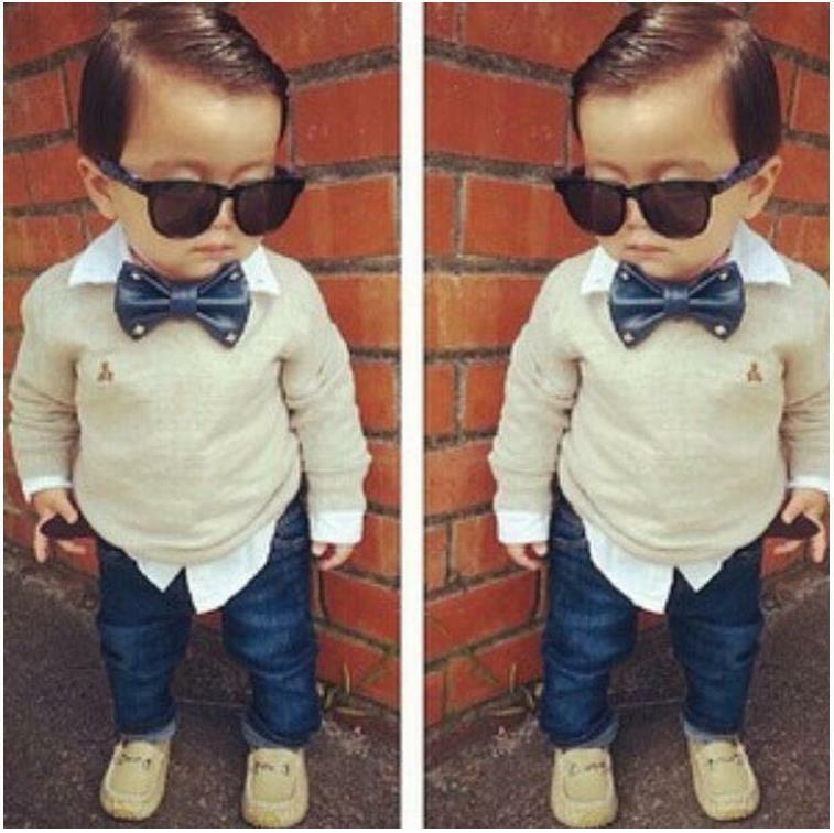 2PCS Baby Boys Gentleman Bow Tie Long Sleeve T-shirt+ Jeans Pants Outfits 2-7Y | EBay