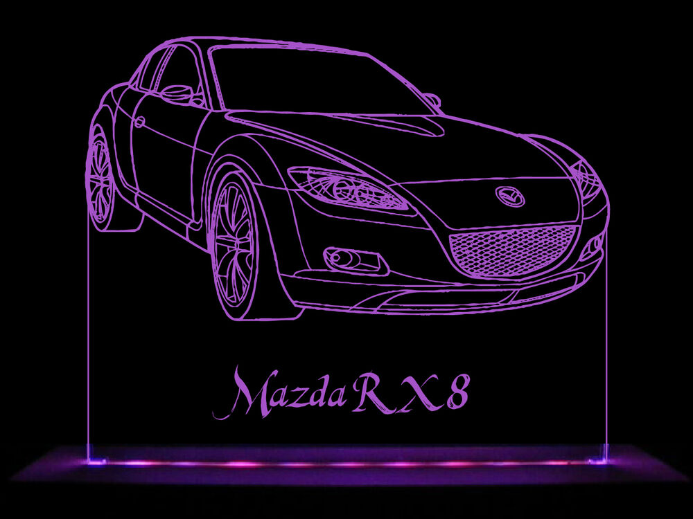 mazda rx8 led acrylic edge lit sign ac adaptor remote control ebay. Black Bedroom Furniture Sets. Home Design Ideas