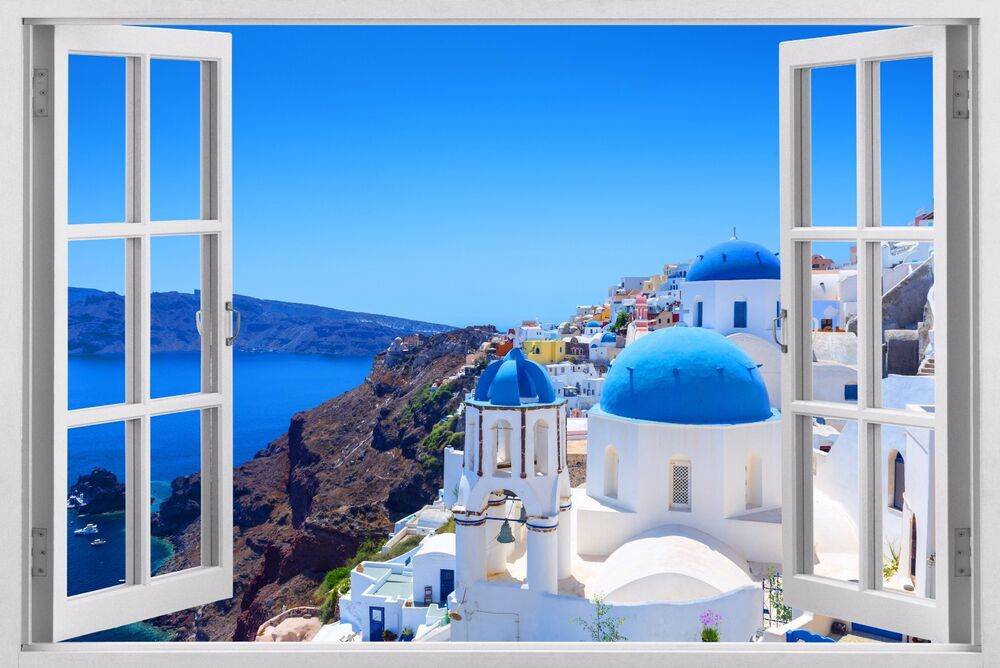 Greece 3d window wall sticker art decal paper mural ocean for Beach view wall mural