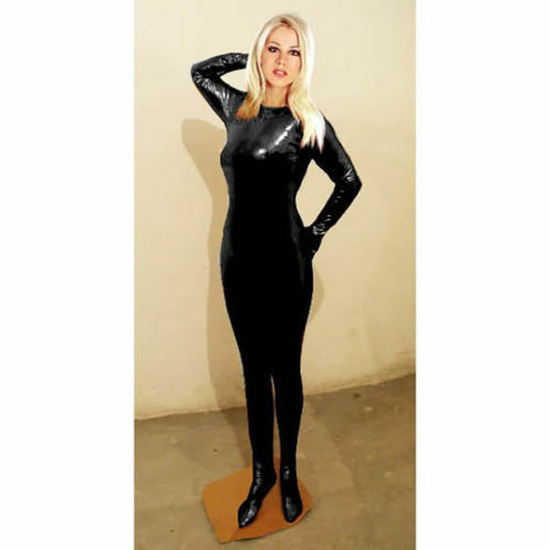 Black Super Springy Body Shiny Spandex Latex Catsuit Uk