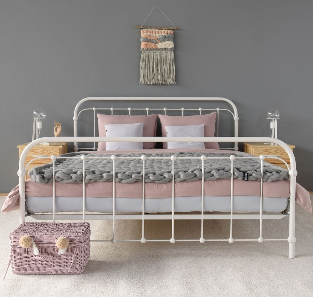amita eisenbett metallbett wei design bett bettgestell 180x200 cm ebay. Black Bedroom Furniture Sets. Home Design Ideas