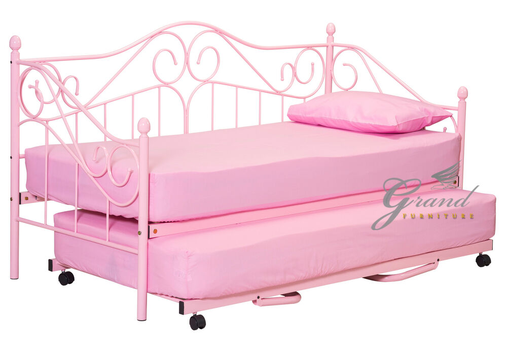 Trundle bed for girls - Day Bed With Trundle And Mattress Pink Girls Guest Bed Frame Ebay