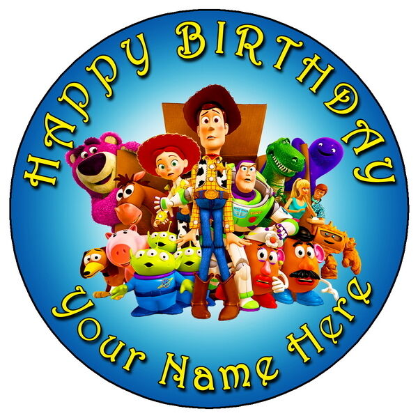 """TOY STORY PARTY - 7.5"""" PERSONALISED ROUND EDIBLE ICING ..."""