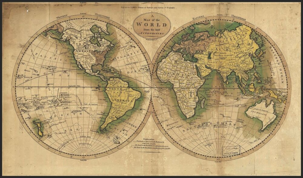 world map circa 1800 39 s mounted on poster board with black. Black Bedroom Furniture Sets. Home Design Ideas