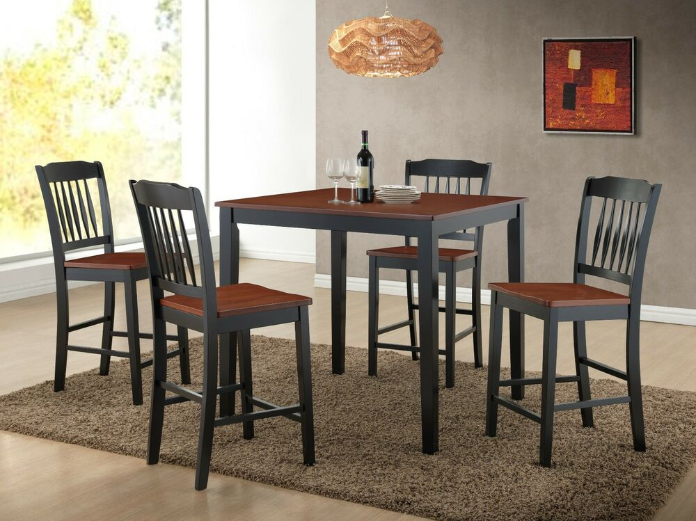 5pc modern solid wood counter height dining set ebay