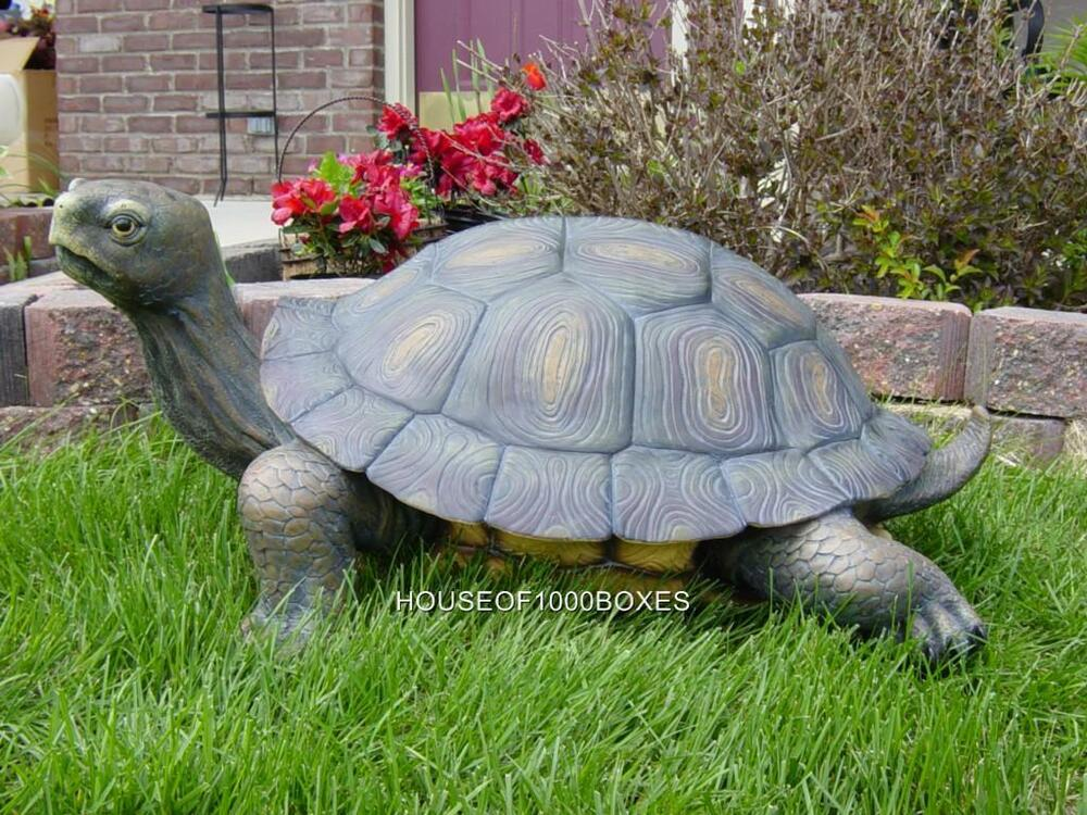 Large turtle statue 30 long reptile garden pond decor for Turtle decorations for home