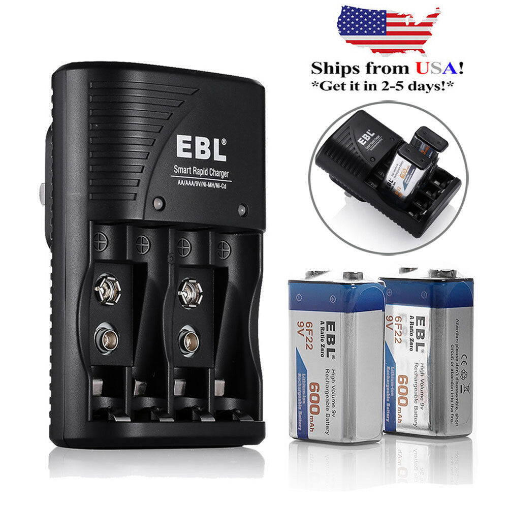 EBL 2x 600mAh 9V Li-ion Rechargeable Batteries + AA AAA ...