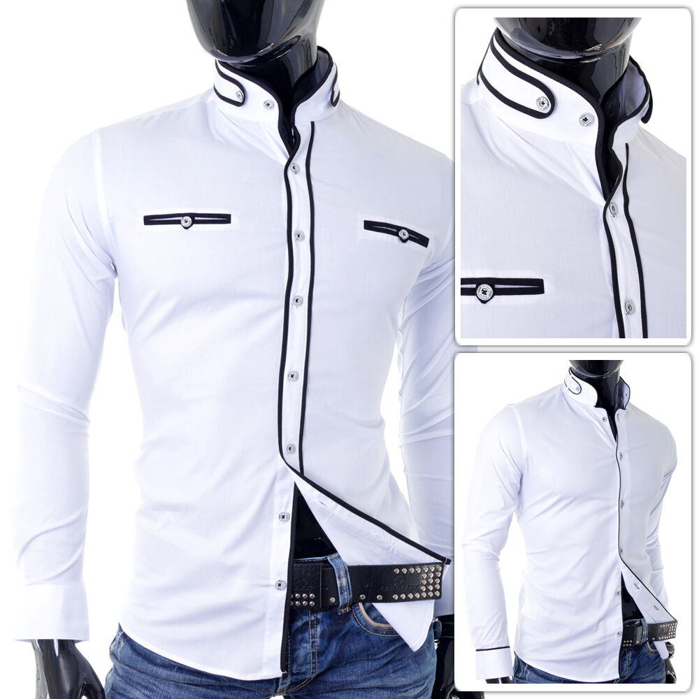 Men shirt grandad collar slim fit athletic casual formal for Athletic fit dress shirts