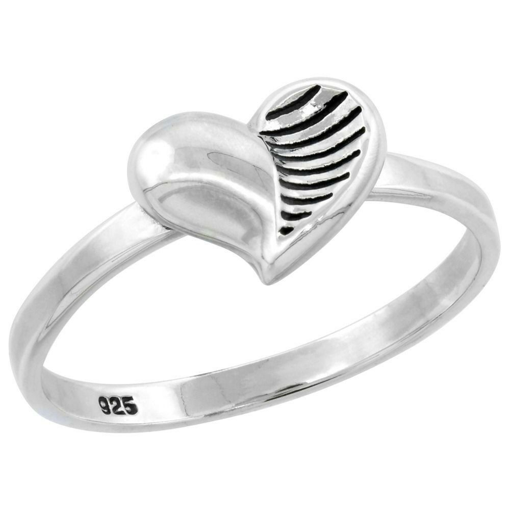 Sterling Silver High Polish Womens Fashion Heart Ring Size
