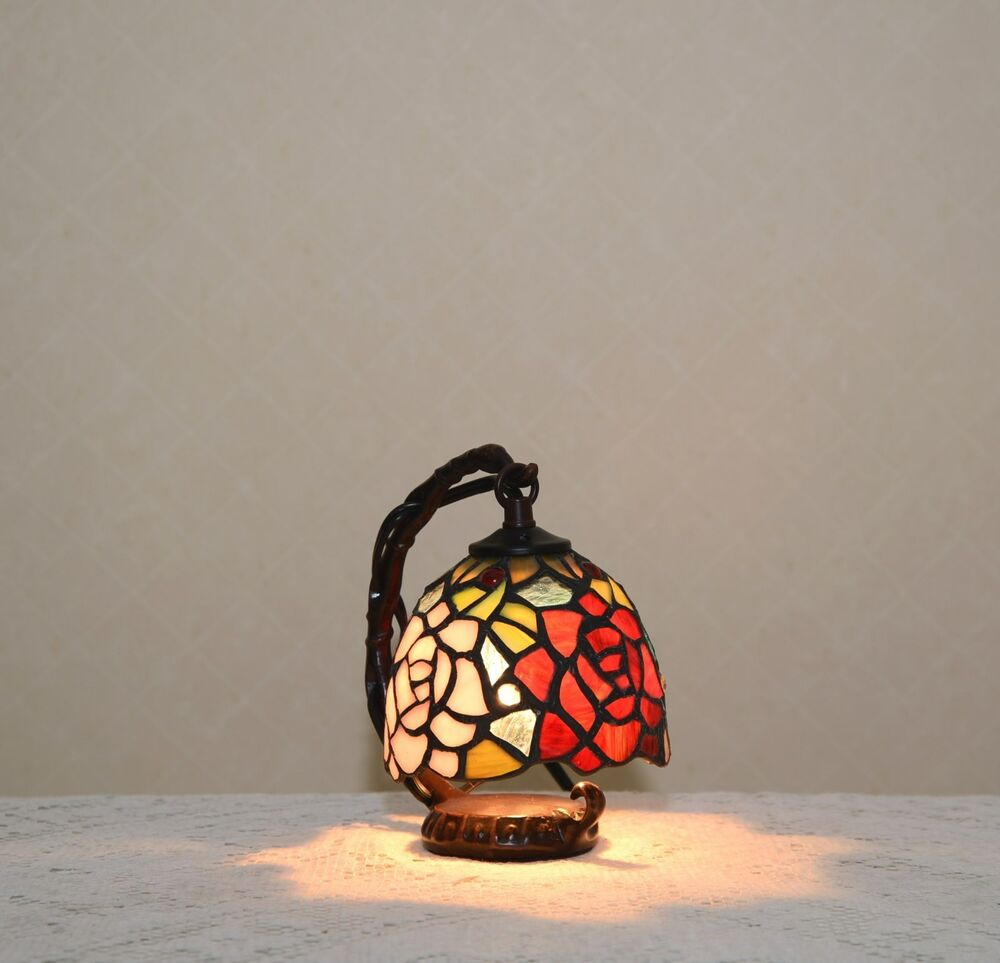Flower Stained Glass Tiffany Style Small Table Desk Lamp ...