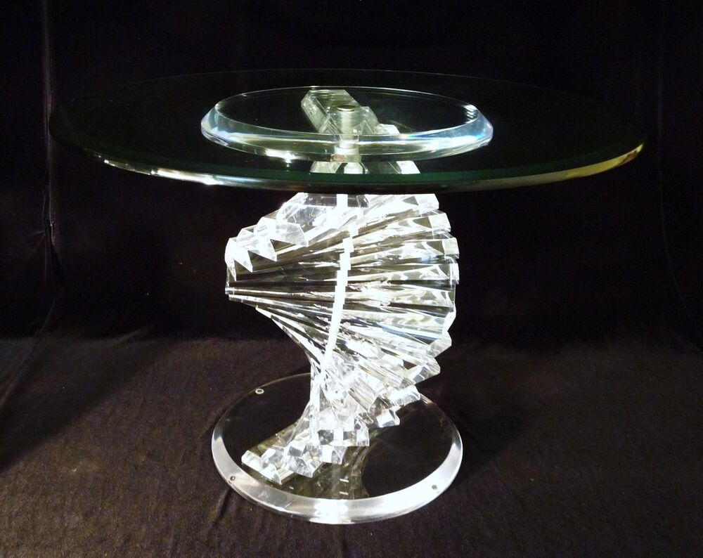 Vintage Mid Century Acrylic Lucite Crystal Top Spiral Dna