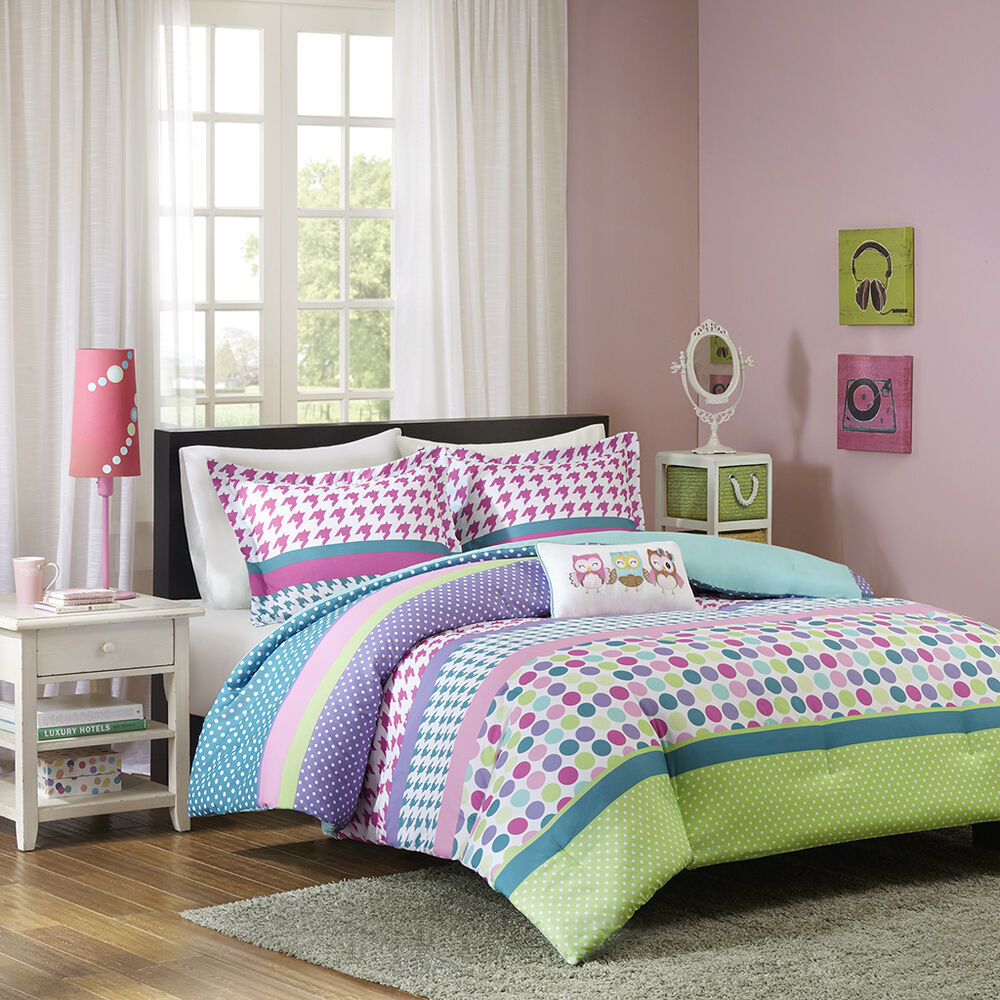 beautiful blue teal aqua pink green purple stripe polka dot girls comforter set ebay. Black Bedroom Furniture Sets. Home Design Ideas