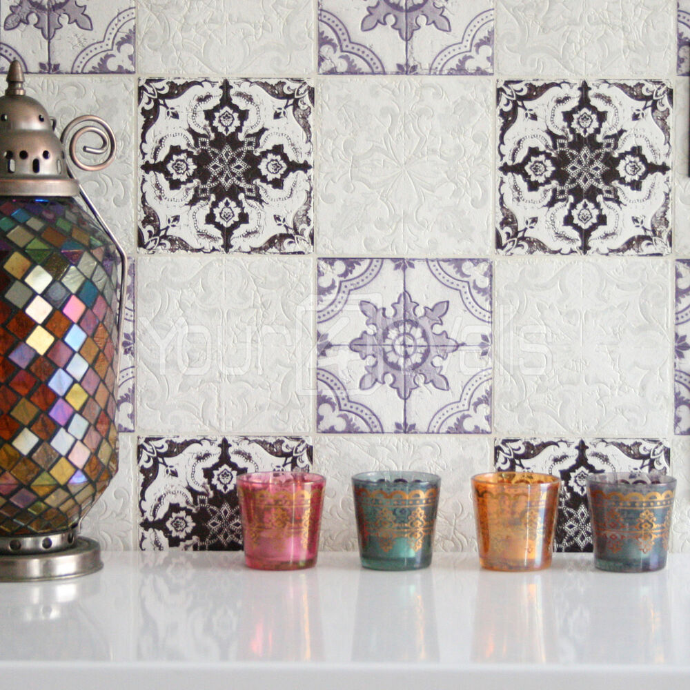 39 moroccan tile 39 geometric tile effect wallpaper in purple for Home wallpaper ebay