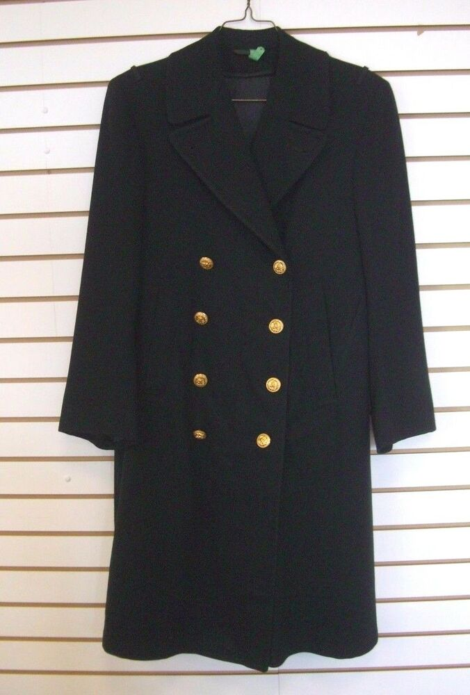 Vintage Mens Black Double Breasted Wool Us Navy Officer S