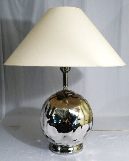 mercury glass slumped dimpled globe table lamp vtg ebay. Black Bedroom Furniture Sets. Home Design Ideas