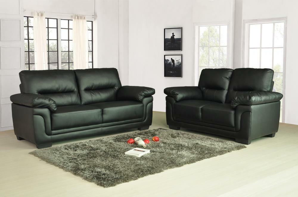 kansas leather sofas 3 2 1 seater sofa set suite black brown 3piece couch settee ebay. Black Bedroom Furniture Sets. Home Design Ideas