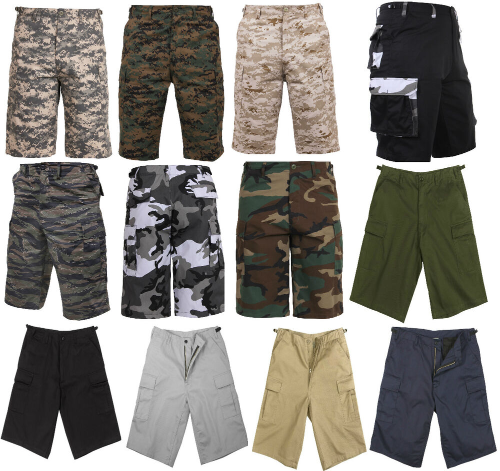 cargo shorts zipper fly fatigue camouflage military long