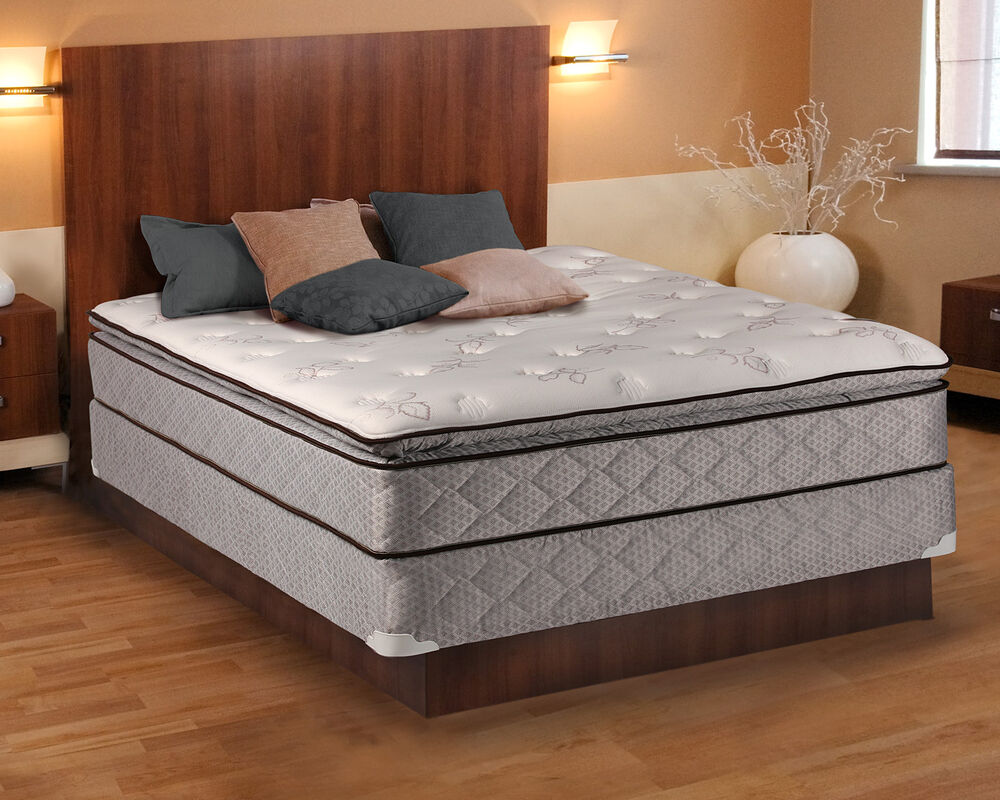 madison pillowtop queen size mattress and box spring set ebay. Black Bedroom Furniture Sets. Home Design Ideas
