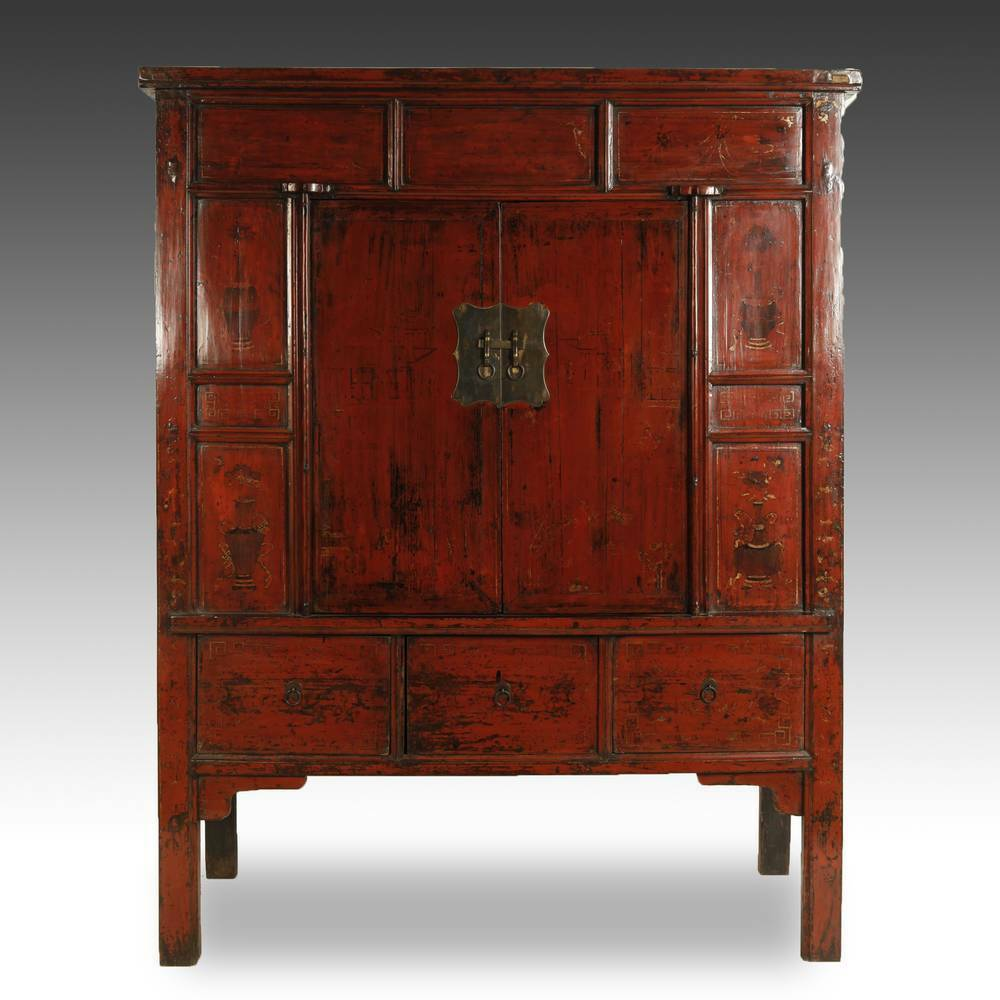 Antique Red Kitchen Cabinets: FINE ANTIQUE CHINESE SHANXI RED LACQUERED PAINTED CABINET