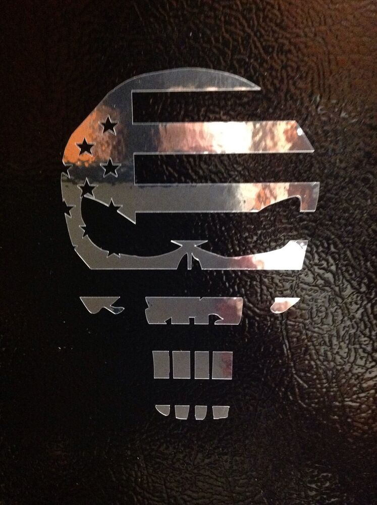 2 Punisher Chrome American Flag Sniper Funny Skull Die
