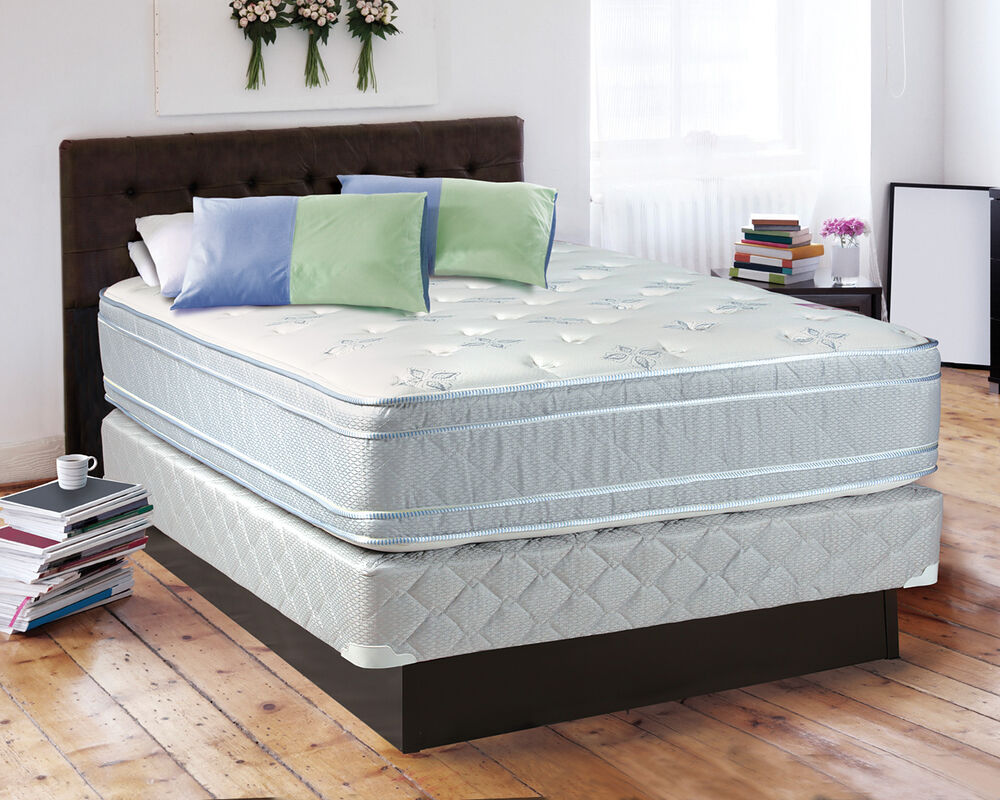 the sensation plush eurotop queen size mattress and box spring set ebay. Black Bedroom Furniture Sets. Home Design Ideas