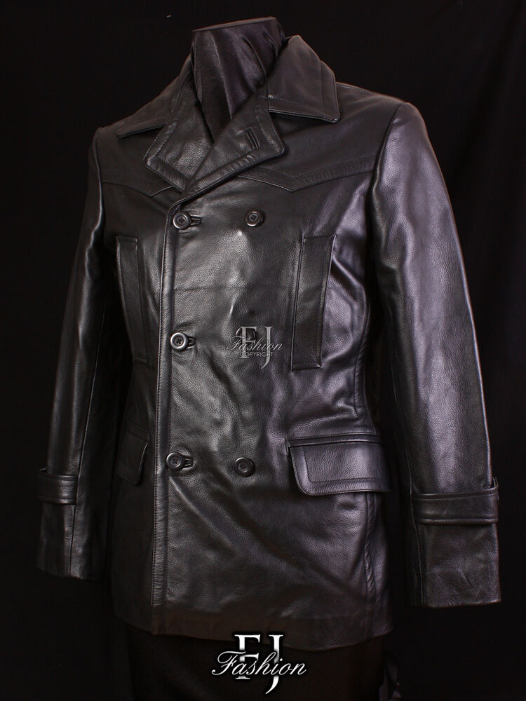 KRIEGSMARINE BLACK Mens New Smart Reefer Real Cowhide ...