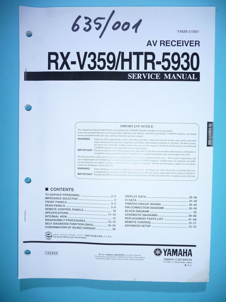 Yamaha Htr Manual