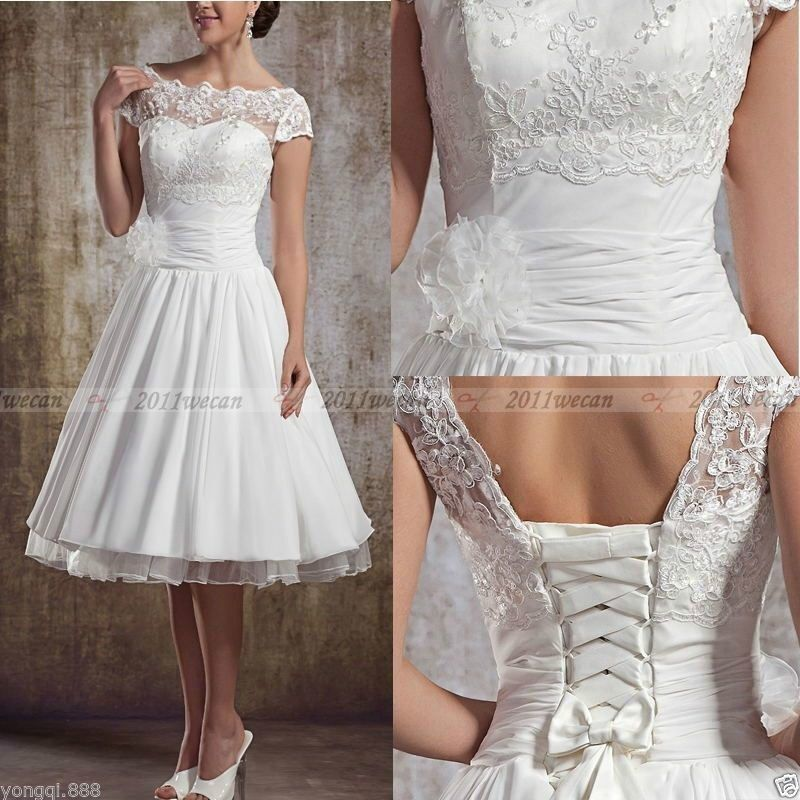Vintage Lace Tea Length Beach Wedding Dress Short Sleeves: New Knee Length Short White/Ivory Lace Wedding Dresses