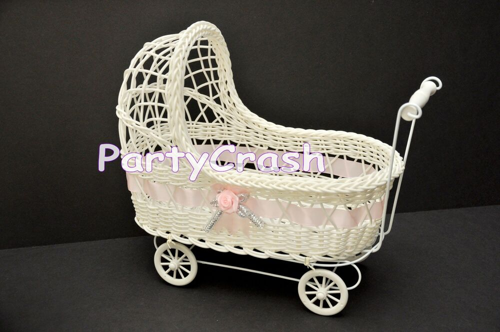 Baby shower party decoration girl pink wicker baby for Baby carriage decoration