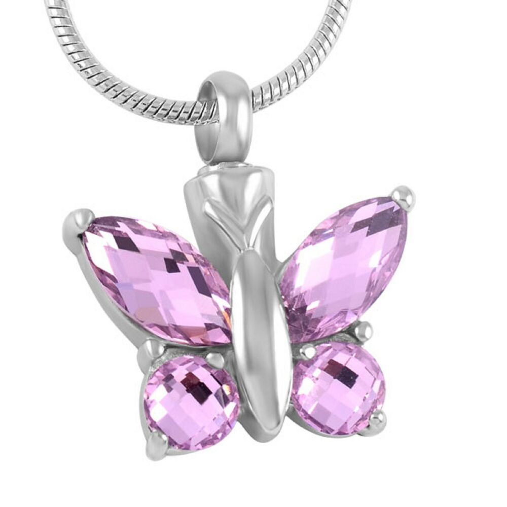 stainless steel butterfly cremation pendant urn jewelry