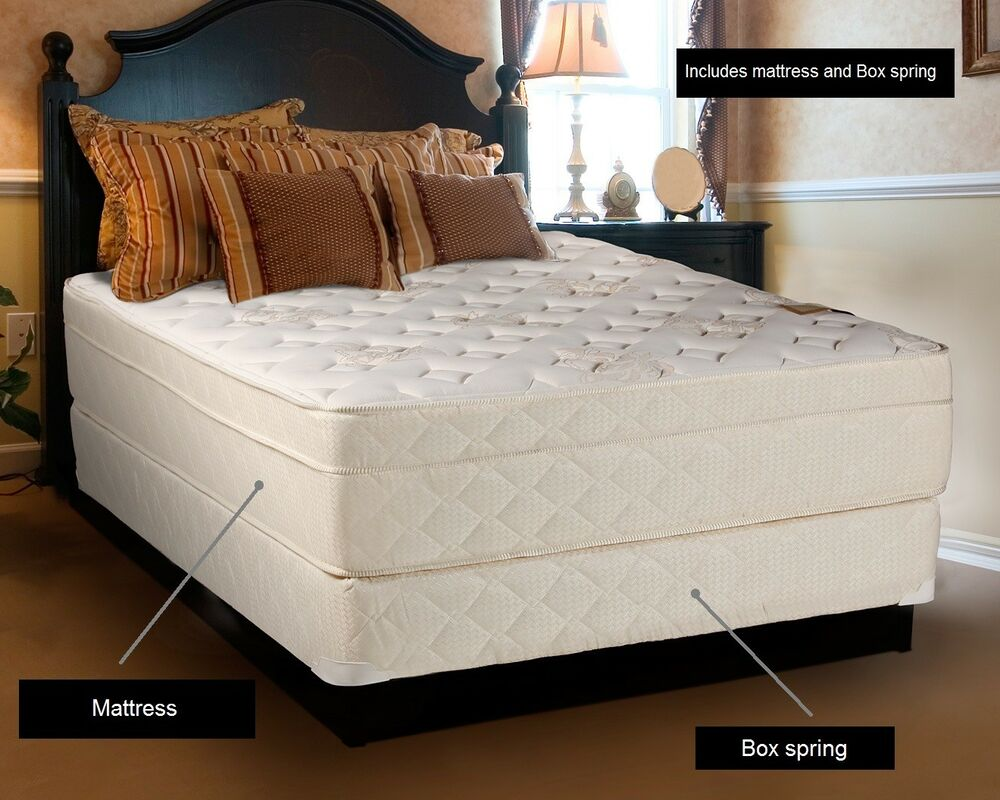 beverlly hills extra firm eurotop queen size mattress and boxspring set ebay. Black Bedroom Furniture Sets. Home Design Ideas