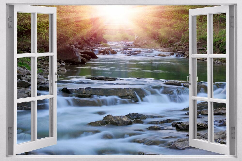Waterfall Huge 3d Window Wall Decals Removable Sticker