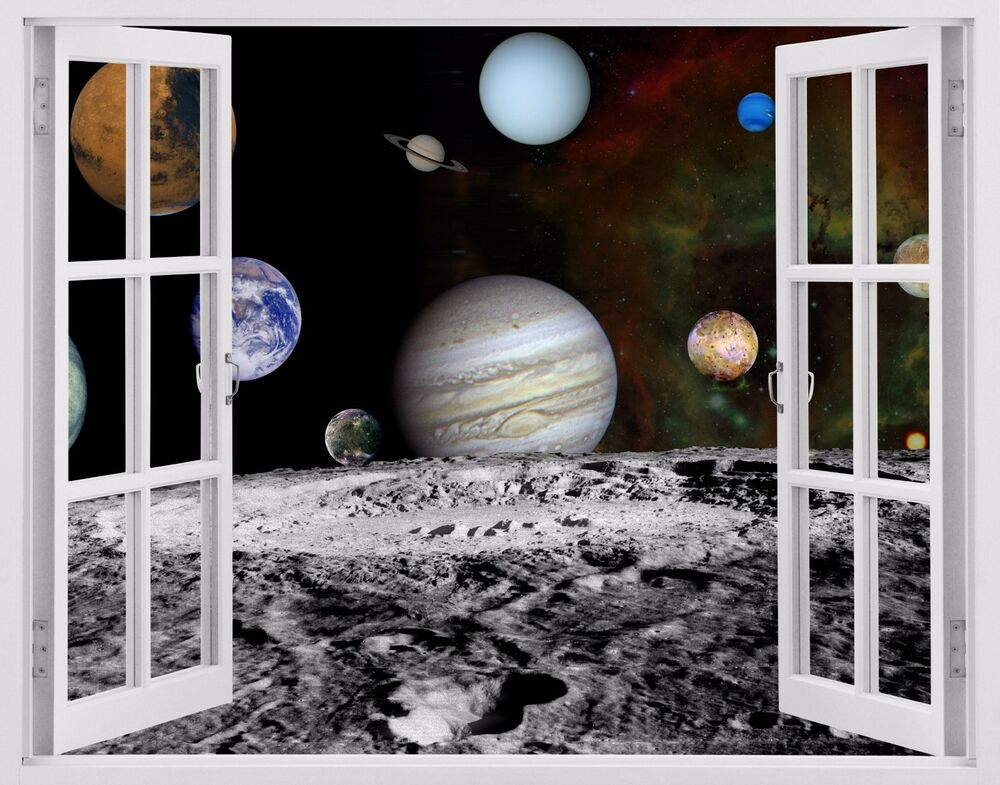 Planet galaxy 3d window view wall decor decals kids wall for Decor planet