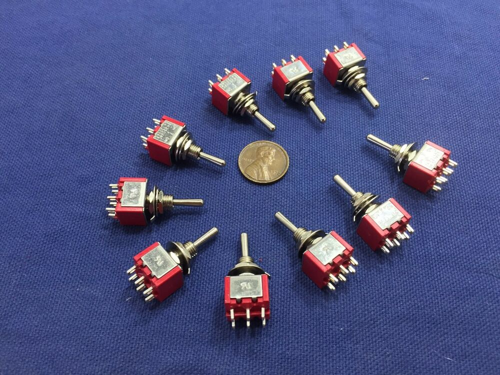 10 Pieces Momentary Mini Toggle Switch On Off On 6 Pin