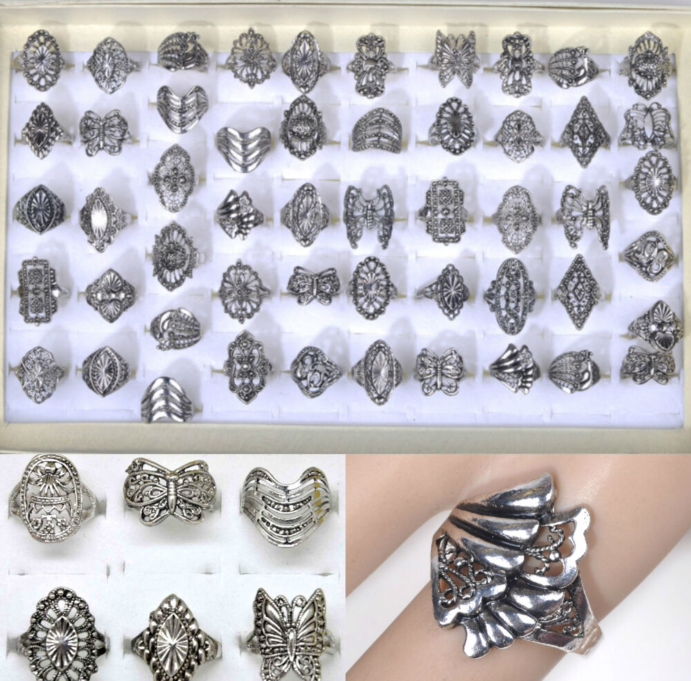 10pcs wholesale lot mix style vintage jewelry silver Vintage style fashion rings