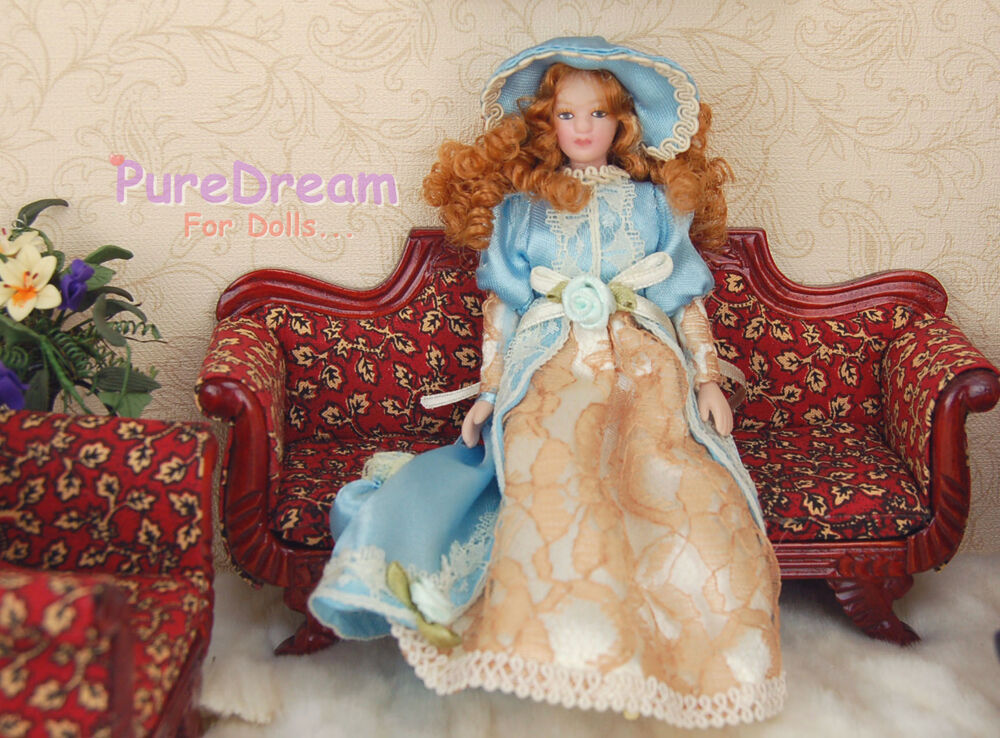 Dollhouse Miniature Victorian Dolls Lady Girl Lace Blue