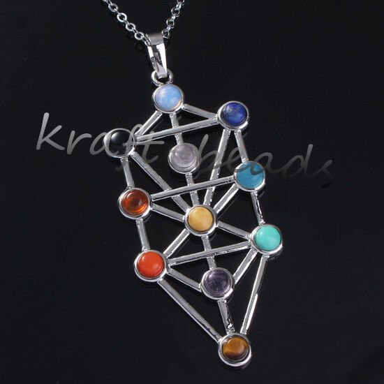 1x Natural Gemstone Kabbalah Tree Of Life Hearing Point