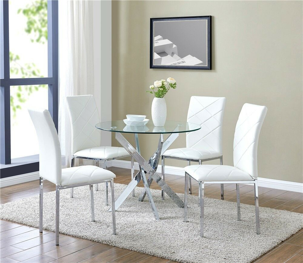Black And White Retro Dining Table And Chairs Set: Glass Dining Table Set And With 4 White Faux Leather