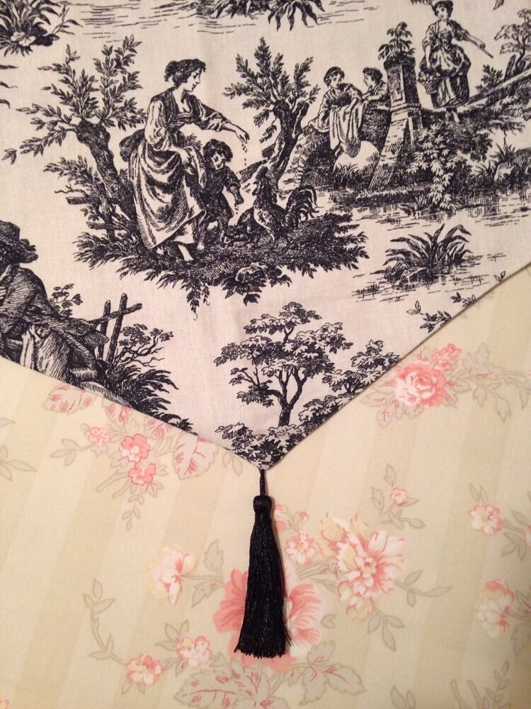Waverly Black Cream French Country Life Toile Valance