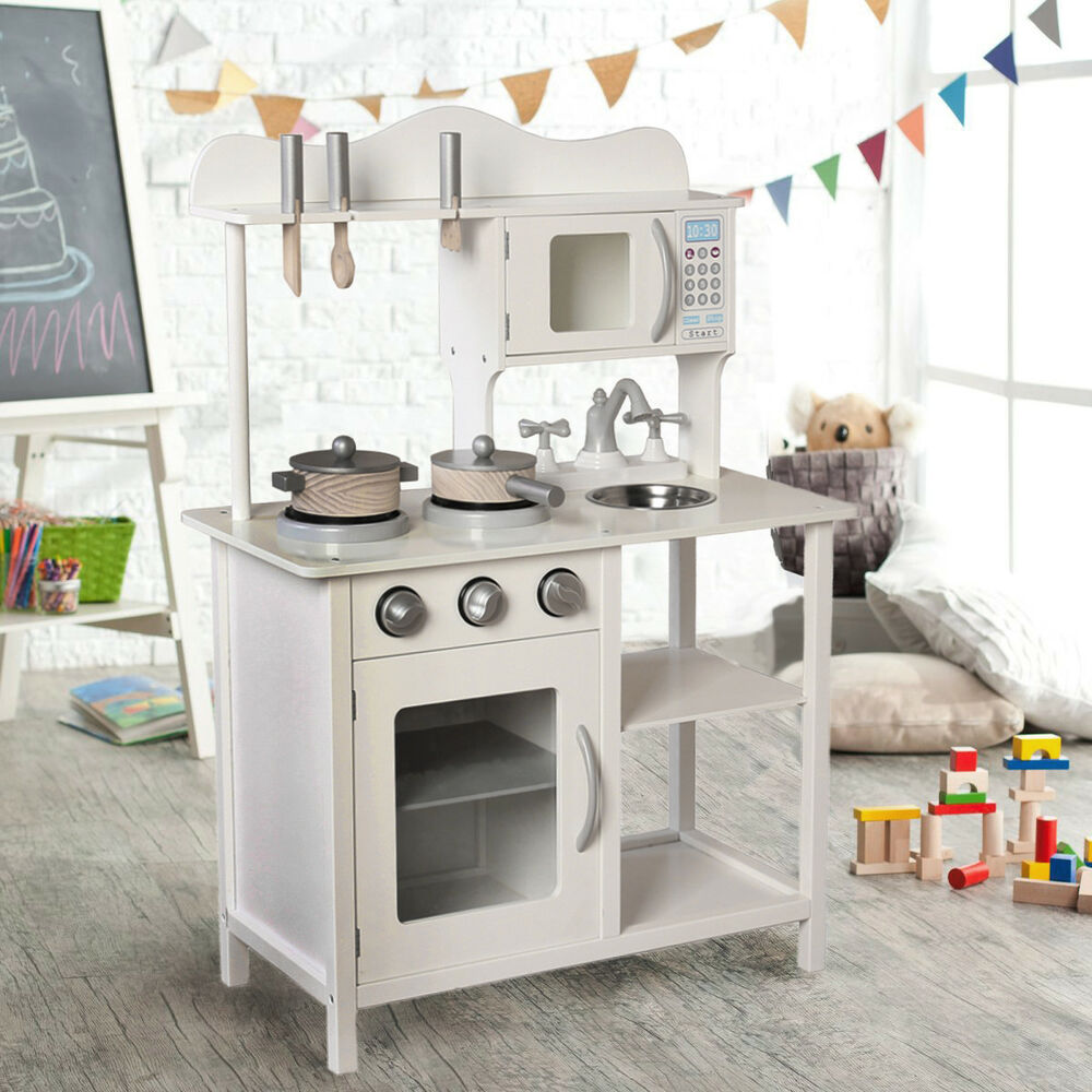 Large Kids Wooden Play Kitchen Boys Girls Children's Play