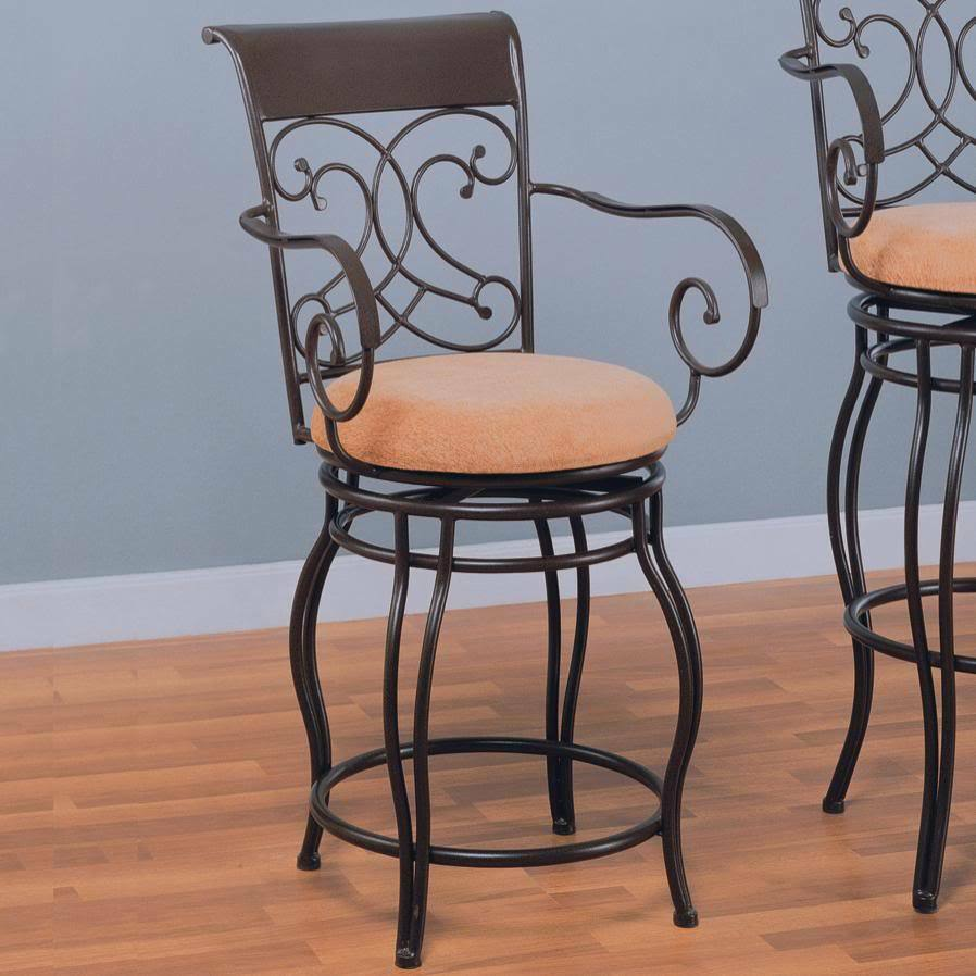 Dark Brown Metal Swivel Counter Height Stool Chair By