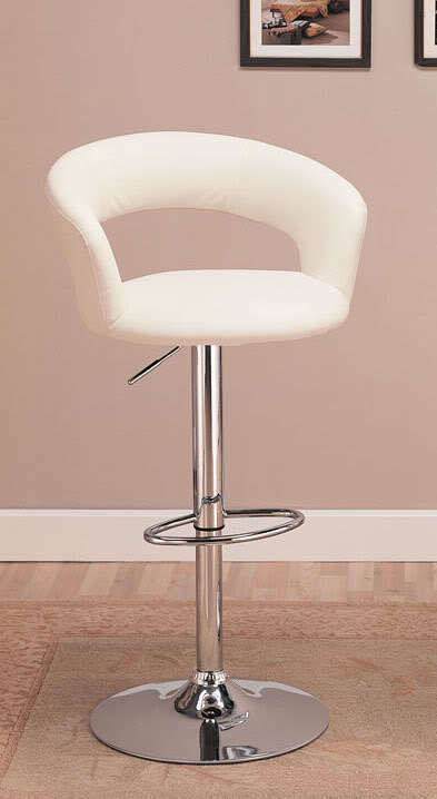 White And Chrome Adjustable Swivel Bar Stool Chair By