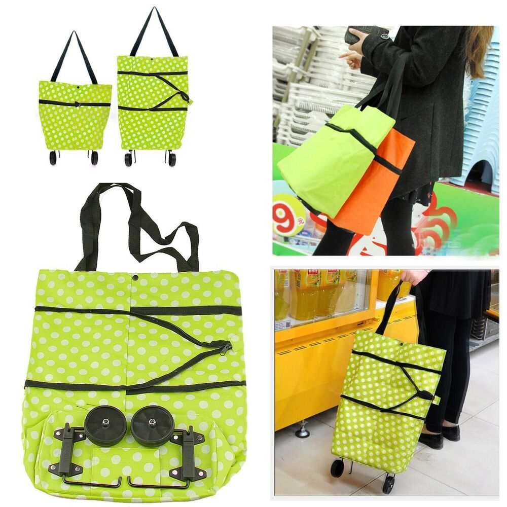 new portable folding wheel handle carry shopping bag rolling grocery cart tote ebay. Black Bedroom Furniture Sets. Home Design Ideas