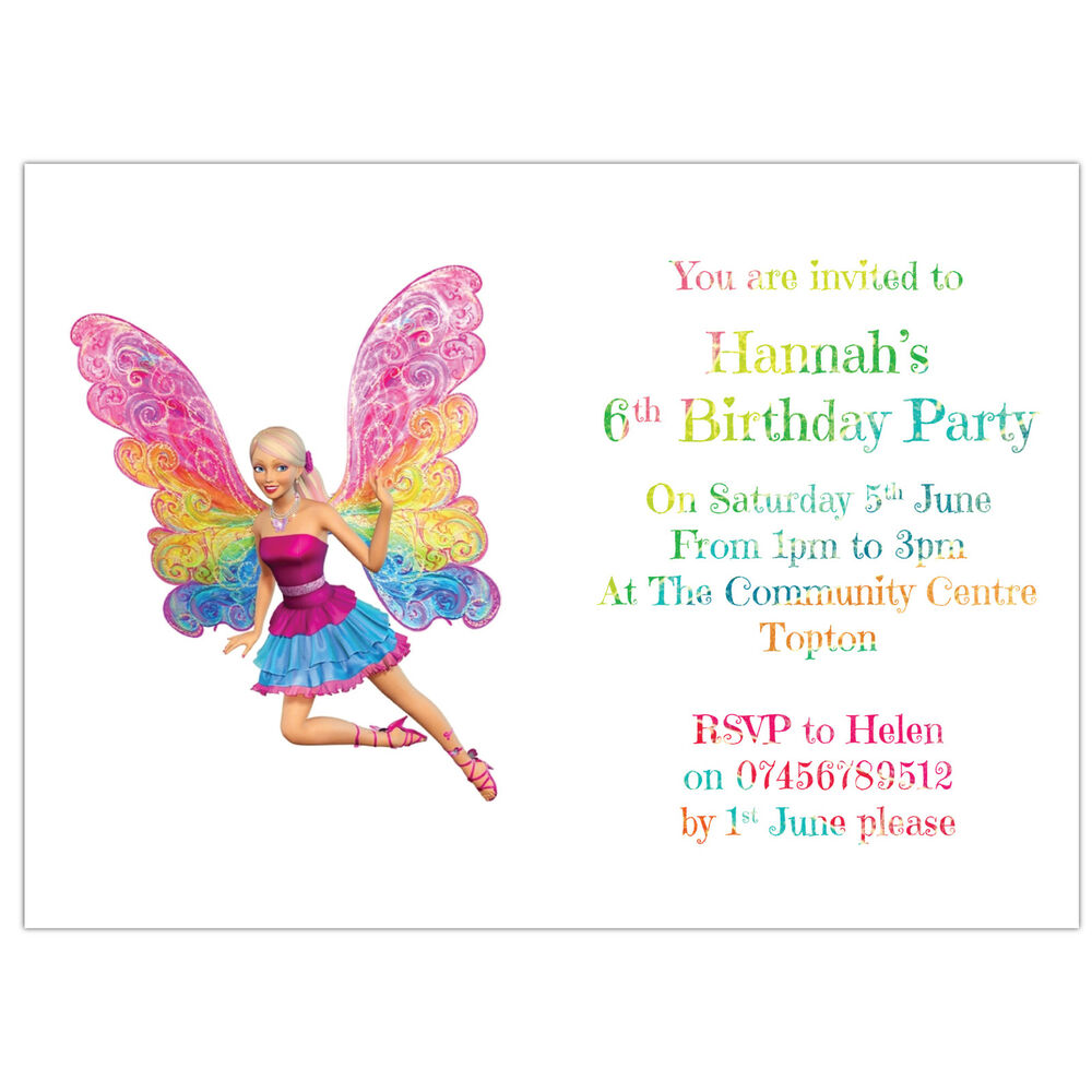 Personalised Birthday Party Invitations or Thank You Cards Barbie ...
