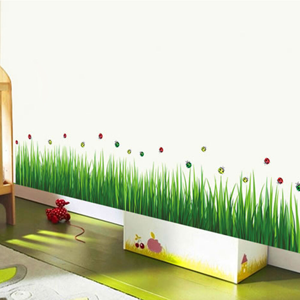 removable green grass wall stickers home decor for kids room bathroom new ebay. Black Bedroom Furniture Sets. Home Design Ideas