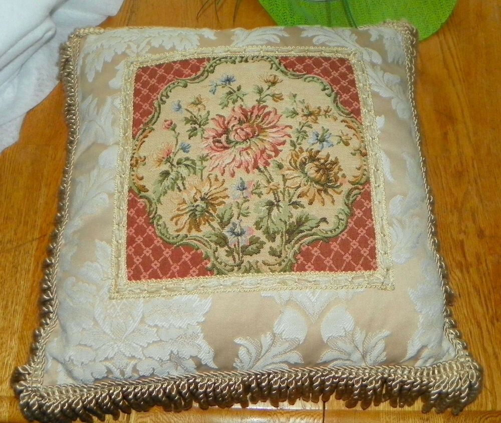 Cream Mauve Bullion Fringed Decorative Throw Pillow 18 x 18 eBay