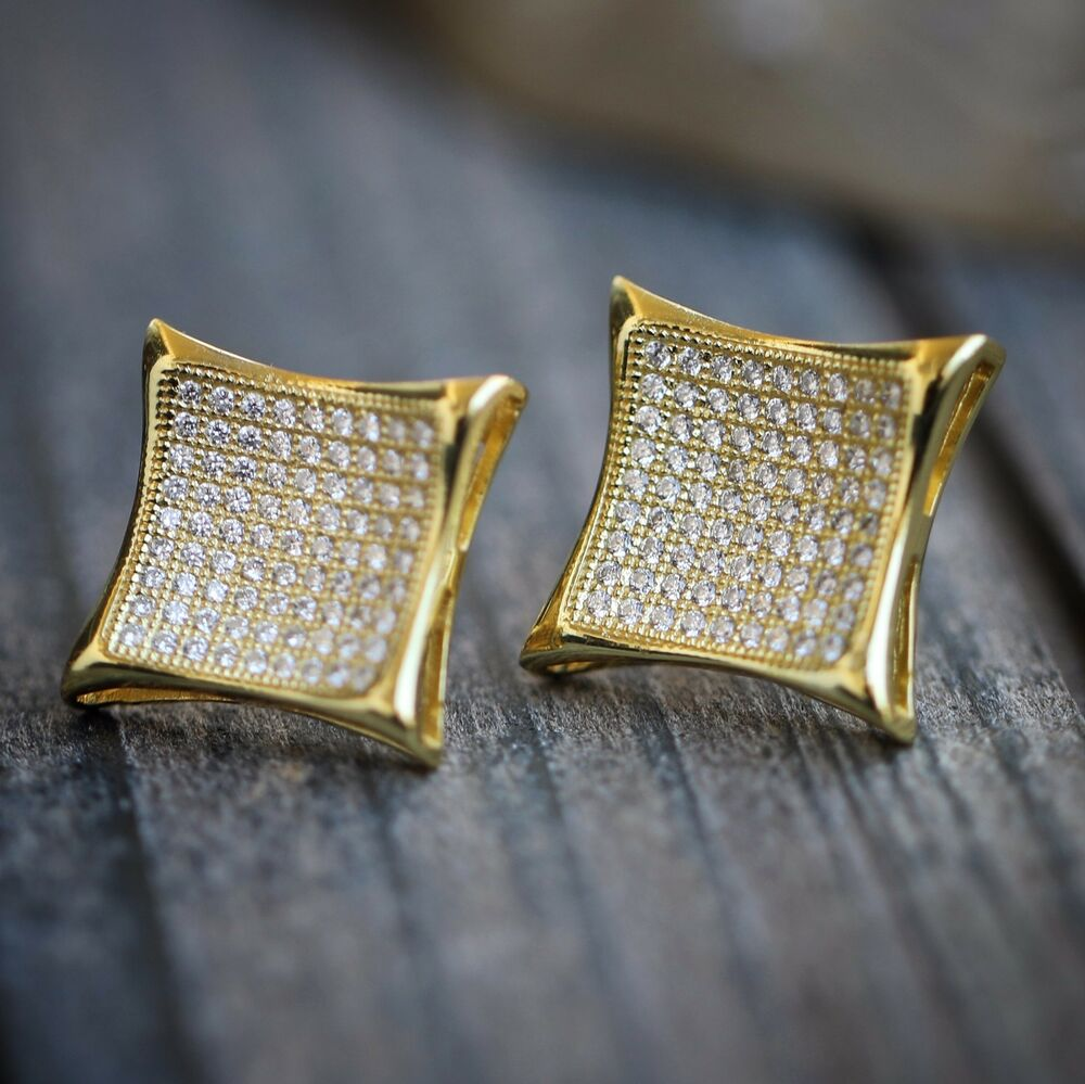 mens gold 14k large hip hop lab simulated earrings