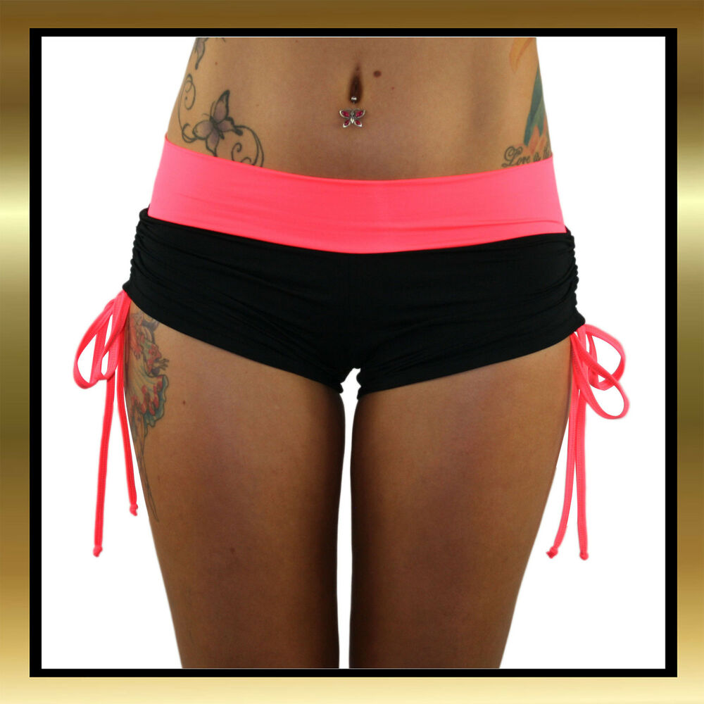 Juicee Peach Black Lycra & Bright Coral Band And Tie Side