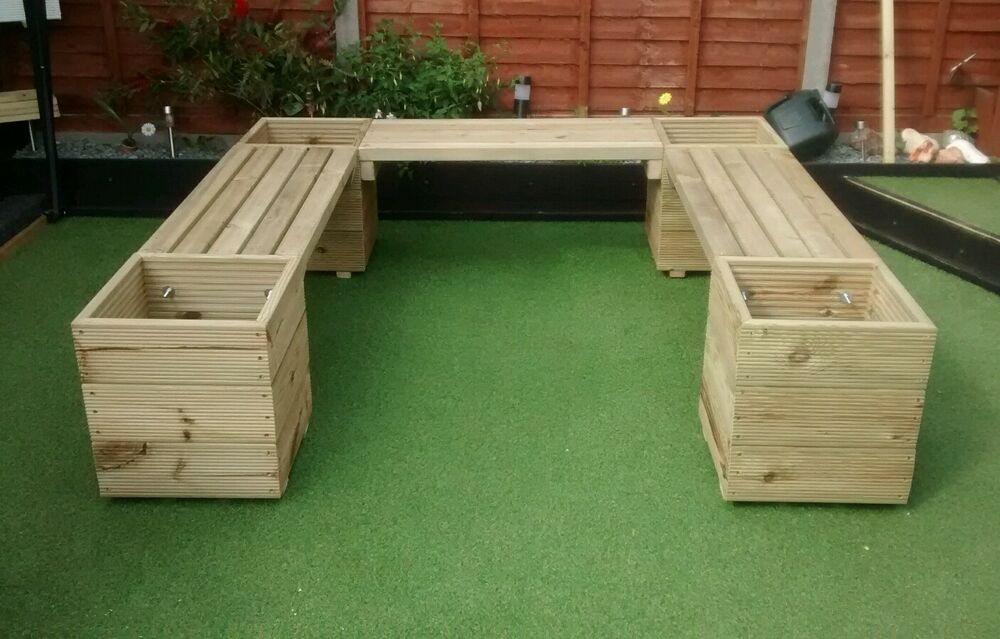 Huge U Shape Or L Shape Corner Garden Bench Planter Ebay