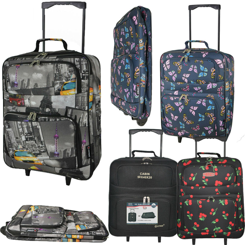 foldable 50x40x20 cabin suitcase wheeled case hand luggage